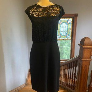 St. John Black Dress w/ Lace Detailing - Sz 14